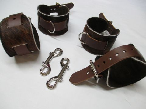 Brown/Black Brindle Hair on Hide Leather 4 Piece Restraint Cuffs Set (Wrist & Ankles (HOH2)